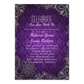 modern elegant damask purple wedding invitation