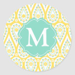 Modern Elegant Damask Yellow Paisley Personalized Classic Round Sticker