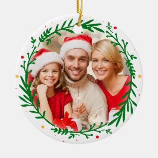 Modern Elegant Family Photo Christmas Wreath Ceramic Ornament