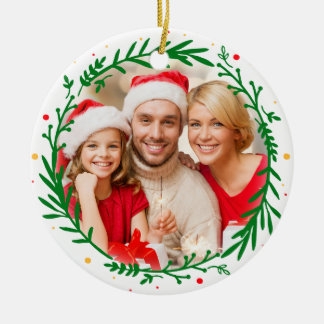 Modern Elegant Family Photo Christmas Wreath Double-Sided Ceramic Round Christmas Ornament