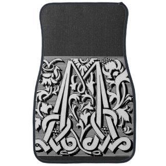modern elegant fancy letter M   monogram Car Floor Mat