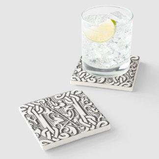 modern elegant fancy letter  N  monogram Stone Beverage Coaster