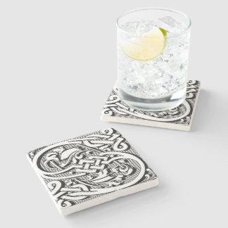 modern elegant fancy letter  S  monogram Stone Beverage Coaster