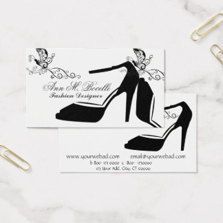 Modern Elegant Fashion Butterfly Chic Shoe Couture Business Card