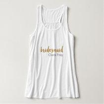 modern elegant faux gold bridesmaid text tank top