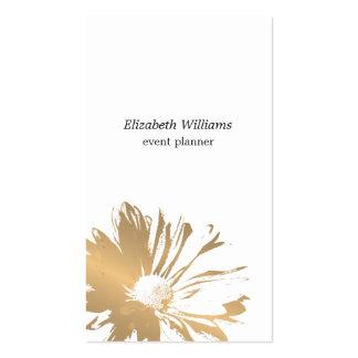 Modern Elegant  Faux Gold Floral Event Planner Business Card