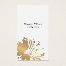 Modern Elegant  Faux Gold Floral Event Planner Business Card at Zazzle