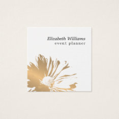 Modern Elegant Faux Gold Floral Event Planner Square Business Card at Zazzle
