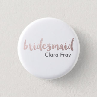 modern elegant faux rose gold bridesmaid text button