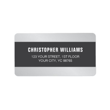 Professional Business Modern Elegant Faux Silver Grey White Label