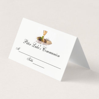 Modern Elegant First Communion Custom Place Card
