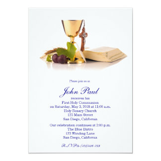 "Modern Elegant First Communion Invitation for Boys 5"" X 7"" Invitation Card"