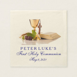 Modern Elegant First Communion Personalized Napkin