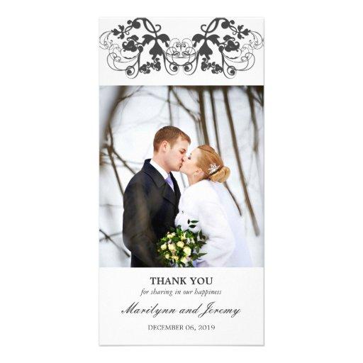 Modern Elegant Floral Flourish Wedding Thank You Card