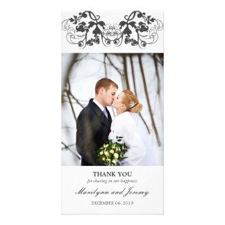 Modern Elegant Floral Flourish Wedding Thank You Photo Card