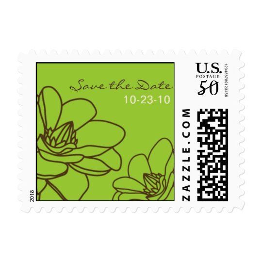 Modern Elegant Floral Save the Date postage stamp
