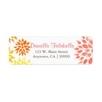 Modern Elegant Floral Watercolor Spring Return Address Label