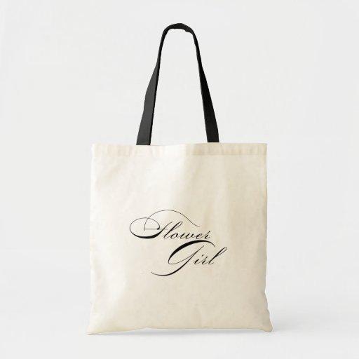 Modern Elegant Flower Girl Tote Bag