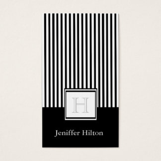 Modern elegant gentle narrow stripes monogram business card
