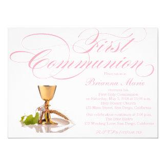 Modern Elegant Girls First Communion Invitation