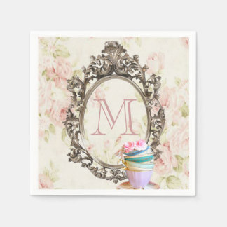 modern elegant girly floral vintage party monogram disposable napkin