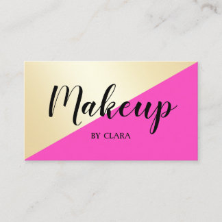 Modern elegant girly hot pink & gold color block business card