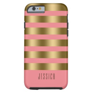 Modern Elegant Gold And Pink Stripes Tough iPhone 6 Case