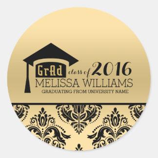 Modern Elegant Gold & Black Damask 2016 Graduation Classic Round Sticker