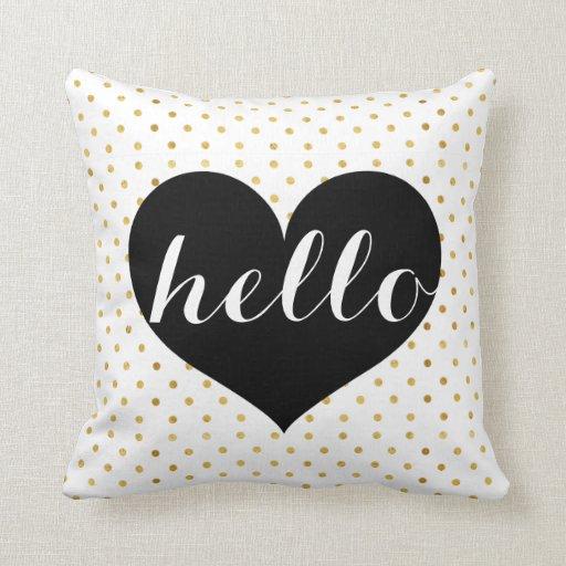 Custom Down Throw Pillows : Modern Elegant Gold & Black Hello Heart Custom Throw Pillow Zazzle