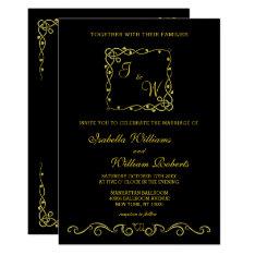 Modern Elegant Gold Black Wedding Invitation at Zazzle