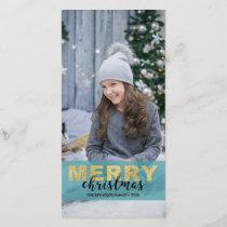 Modern Elegant Gold Blue Merry Christmas Photocard Holiday Card