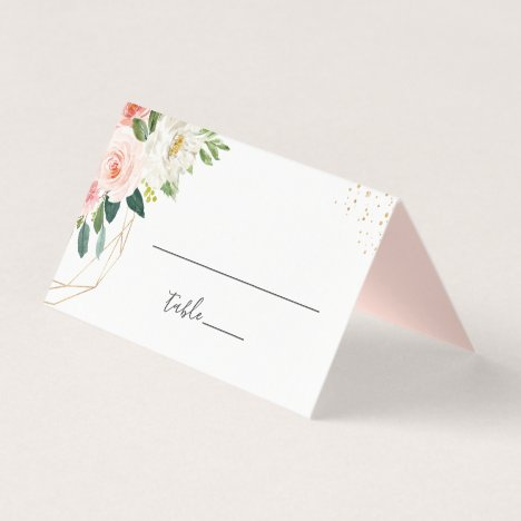 Modern Elegant Gold Blush Pink Floral Wedding Place Card