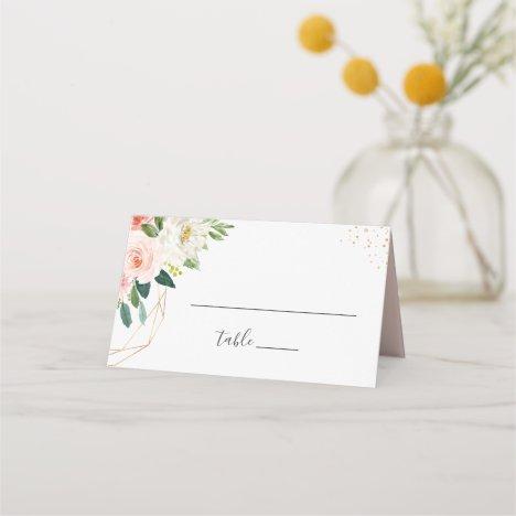 Modern Elegant Gold Blush Pink Floral Wedding Place Card