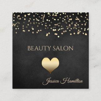 Modern elegant gold confetti cute heart square business card