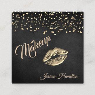Modern elegant gold confetti lips square business card