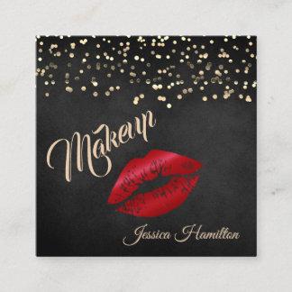 Modern elegant gold confetti red lips square business card