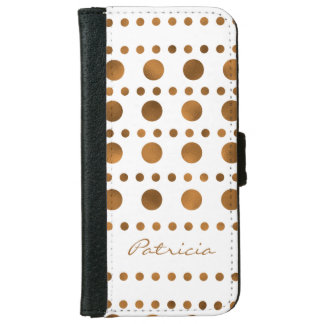 Modern Elegant Gold Dots Personalized iPhone 6 Wallet Case
