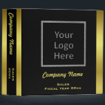 """Modern Elegant Gold Foil Business Logo Custom 3 Ring Binder<br><div class=""""desc"""">Elegant design with gold foil type gradient trim and text on a black background.  Upload your company logo.  Customize front and spine with company name and/or other text to suit your business needs.</div>"""