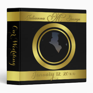 Modern Elegant Gold Foil Design Photo Wedding 3 Ring Binder