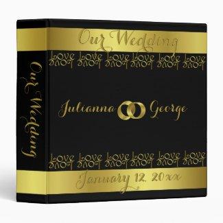 Modern Elegant Gold Foil LOVE Text Design Wedding 3 Ring Binder