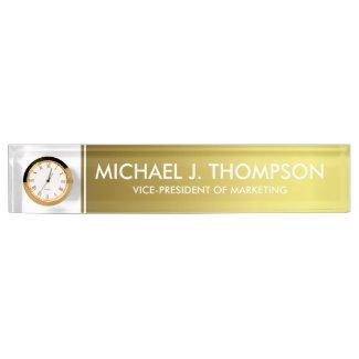 Modern Elegant Gold Foil Monogrammed Desk Name Plate