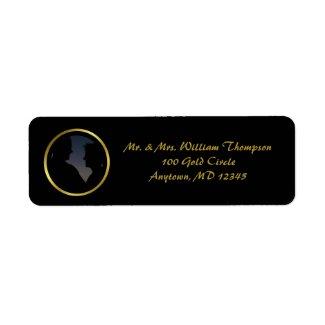 Modern Elegant Gold Foil Photo Return Address Label