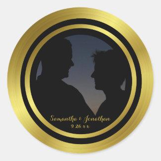 Modern Elegant Gold Foil Photo Wedding Engagement Classic Round Sticker