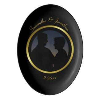 Modern Elegant Gold Foil Wedding Custom Photo Porcelain Serving Platter
