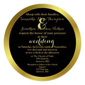 Modern Elegant Gold Foil Wedding 5.25x5.25 Square Paper Invitation Card