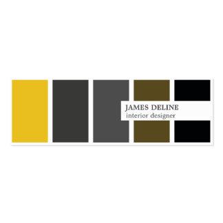 Modern Elegant Gold Grey Black Interior Designer Mini Business Card