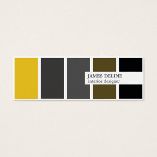 Modern Elegant Gold Grey Black Interior Designer Mini Business Card