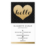 Modern Elegant Gold Hello Heart Black Dots Custom Double-Sided Standard Business Cards (Pack Of 100)