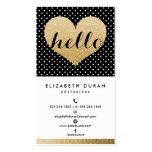 Modern Elegant Gold Hello Heart Black Dots Custom Business Card Template