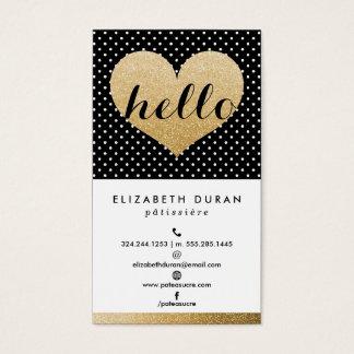 Modern Elegant Gold Hello Heart Black Dots Custom Business Card